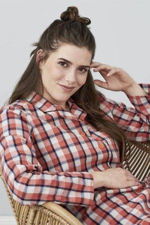 pyjamas dam flanell rutig modell sittande
