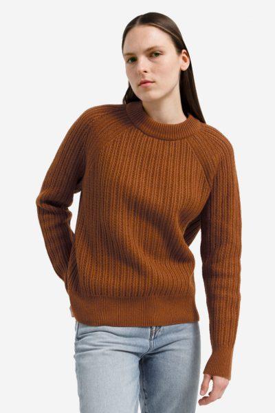tröja ribbstickad hinaa ullmix rost modell