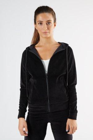 hoodie velour dam svart modell