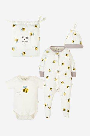 present till nyfödd body+sparkdrakt+mössa buzzy bee