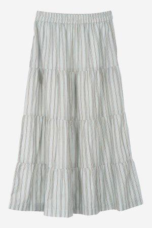 Kjol randig blågrå