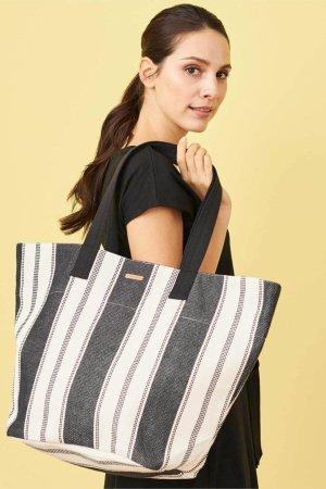 shoppingväska cävd cairo randig naturvit/svart modell sidan