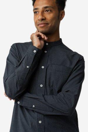 skjorta amit murarkrage navy grid modell