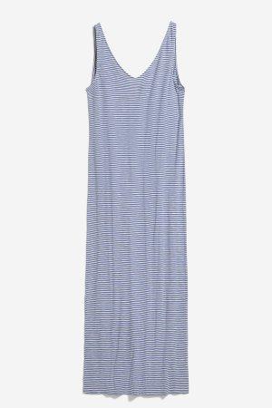 klänning madalenaa finrandig marinblå