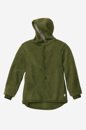 jacka med luva filtad ull baby barn mörkgrön