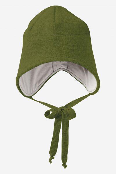 mössa hjälm filtad ull baby mörkgrön