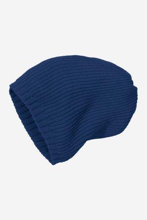 mössa stickad ull barn marinblå