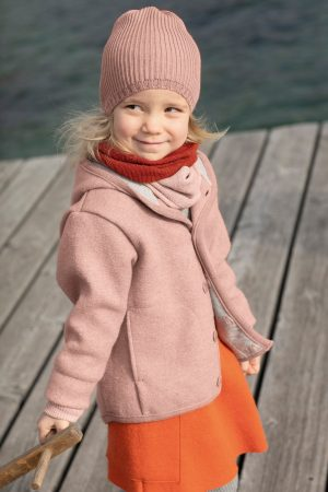 mössa stickad ull barn rosa modell