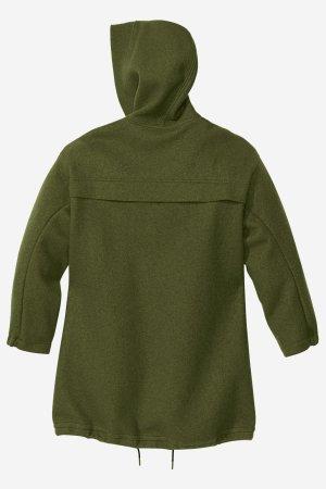 parka jacka filtad ull dam mörkgrön baksida