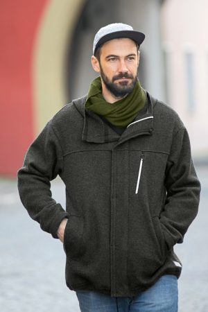 parka jacka filtad ull herr svart modell