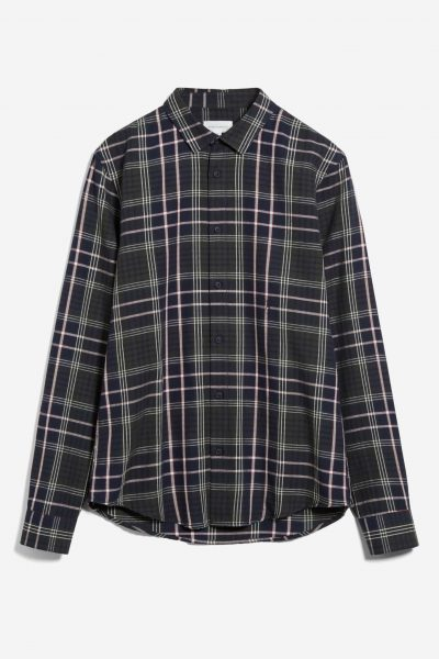 skjorta linaas rutig marinblå