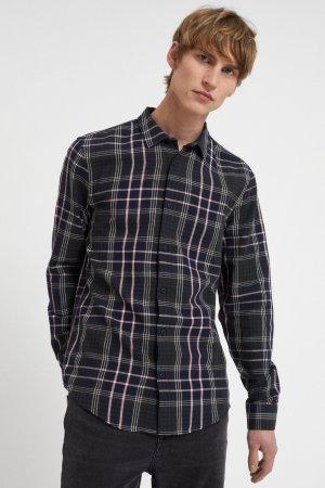 skjorta linaas rutig marinblå modell