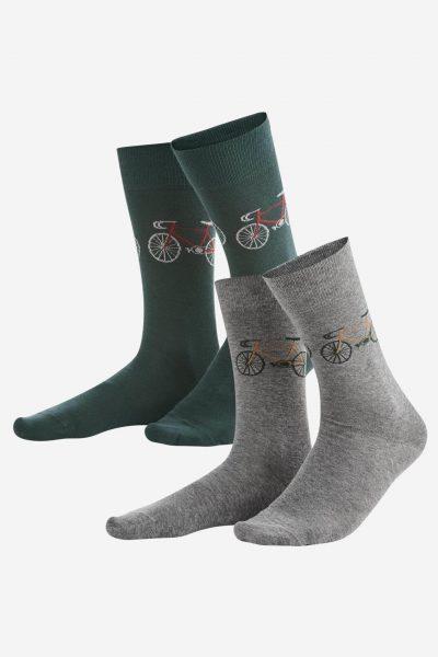 strumpor racercyklar grön/grå 2-pack
