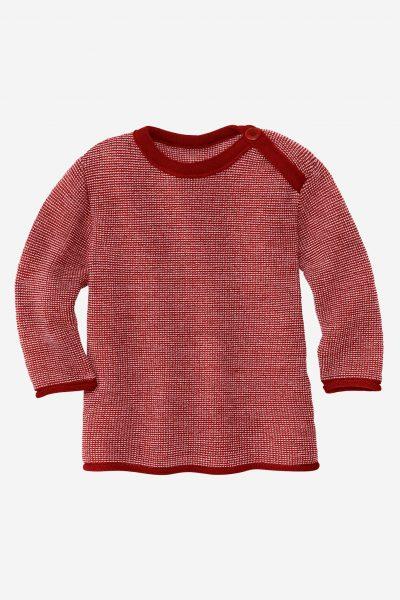 tröja klaffhals stickad ull baby vinröd/rosa