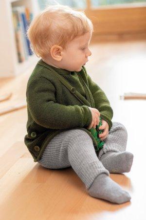 tröja omlott stickad ull baby/barn mörkgrön/svart modell