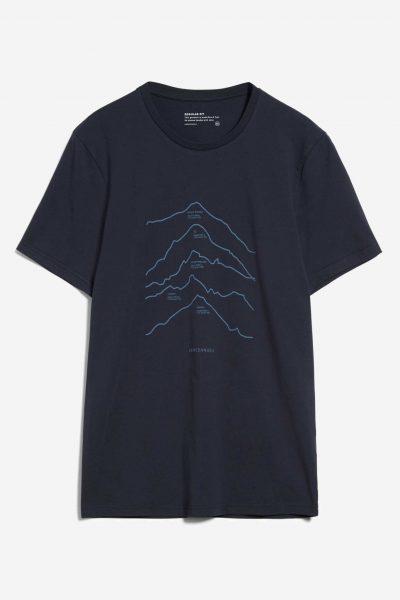 t-shirt top 5 mountains jaames marinblå
