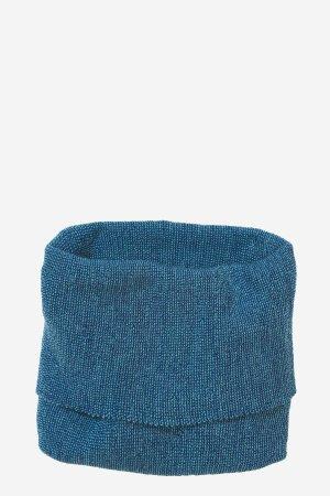 tubhalsduk stickad ull barn marinblå/turkos