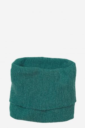 tubhalsduk stickad ull barn petrolgrön/turkos