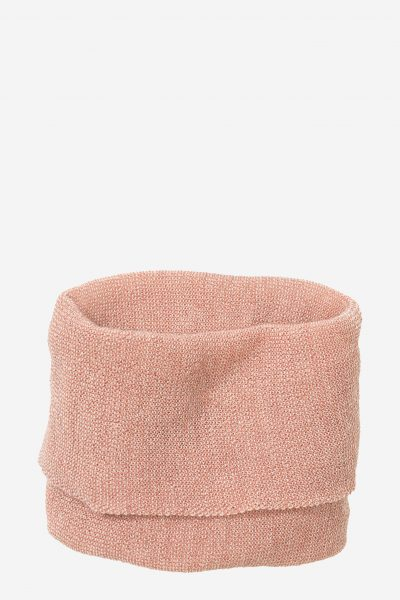 tubhalsduk stickad ull barn rosa/naturvit