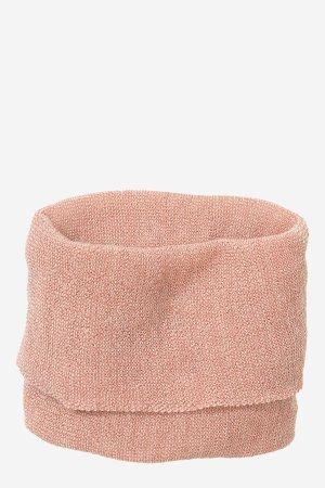 tubhalsduk stickad ull unisex rosa/naturvit