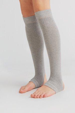 yogastrumpor bomull höga gråmelerad modell