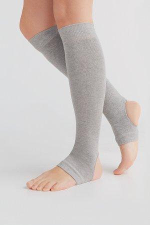 yogastrumpor bomull höga gråmelerad modell korsade ben