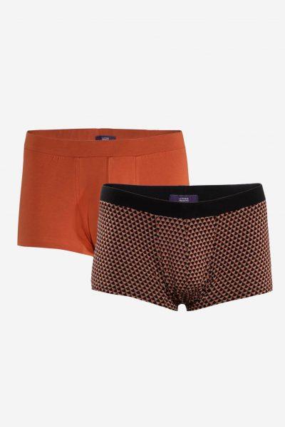 kalsonger boxer mönster orange/brun 2-pack