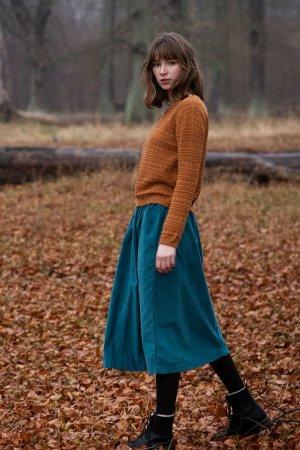 kjol fickor manchestertyg blå modell helbild