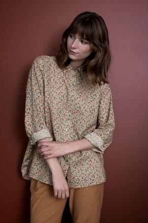 skjorta blommigt mönster dahlia modell uppkavlat