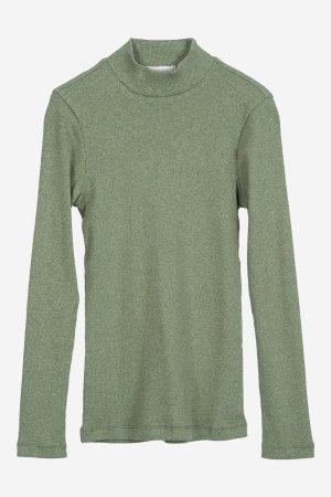 tröja halvpolo ribbad grön