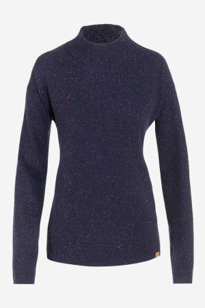 tröja stickad ull halvpolo laina morkblå melerad