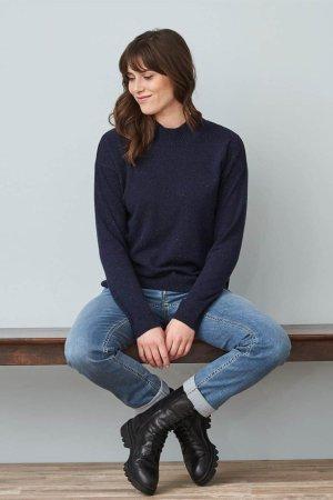 tröja stickad ull halvpolo laina morkblå melerad modell