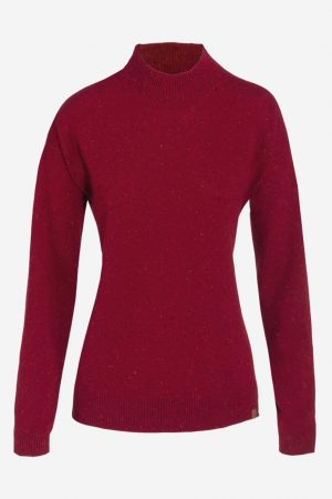 tröja stickad ull halvpolo laina röd melerad