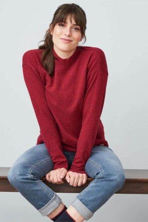 tröja stickad ull halvpolo laina röd melerad modell sittande