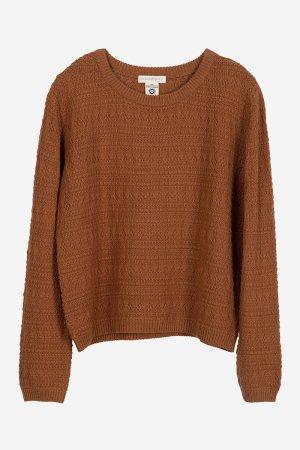 tröja strukturstickad rostbrun