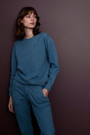 tröja sweatshirt boxy blå modell
