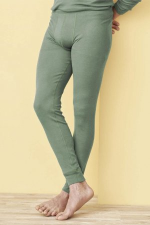långkalsonger ull/bomull linus grön melerad modell